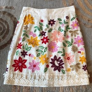 Maeve Anthropologie Flower embroidered skirt